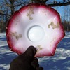 Victorian Enameled Milk Glass Cranberry Opal Edge Brides Bowl