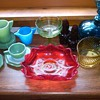 COLLECTION OF GLASS: AKRO AGATE, FENTON, HANDMADE GLASS AND MORE.