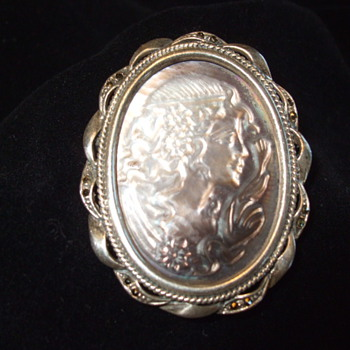My Wife's Flea Market Bargain- Sterling + Marcasite Art Nouveau SHELL CAMEO - Art Nouveau