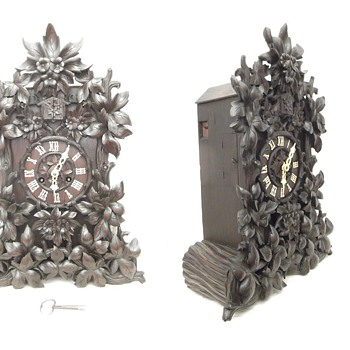 Fantastic, very large,  unusual floral carved Theodore Ketterer cuckoo clock,  Ca.1870