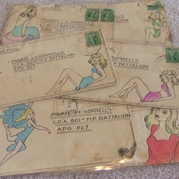 WW2 Nose Art style pin ups on Envelopes c. 1944 - Military and Wartime
