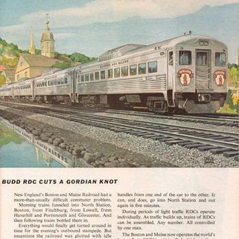 "1955 - Budd Co. RDC Traincars ""New England Railroad"" Advertisement - Advertising"