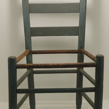 Ladderback Chair  in a blue/green milk paint - Furniture