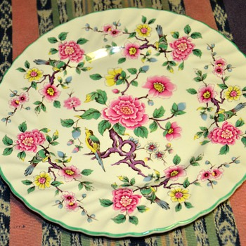Staffordshire Plates - Old Foley - James Kent - Chinese Roses - China and Dinnerware