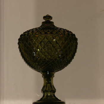 Very large forest green pedestal compote.