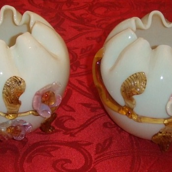 Victorian Art Glass rose bowls with applied flowers