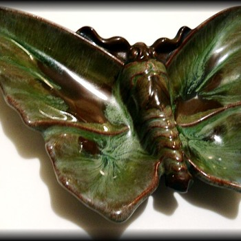 Vintage Ceramic Ashtray -- ButterFly