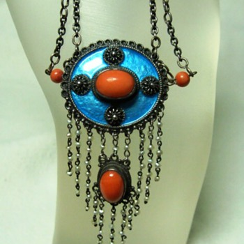 Antique Arts and Crafts Enamel and Coral Necklace - Fine Jewelry