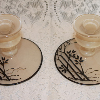 Hand Painted Candlestick Holders - Art Glass