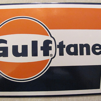 """LARGE"" LOGO GULFTANE PORCELAIN GAS PUMP SIGN - Petroliana"