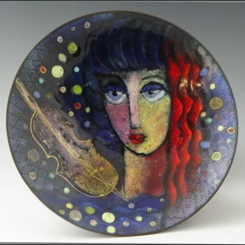 Art Deco Enamel on Metal Footed Bowl by Virgil Cantini - Art Deco
