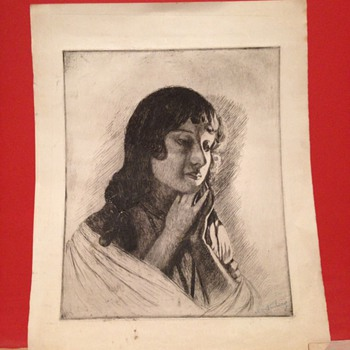 A nice drawing of a women. Signed by ??