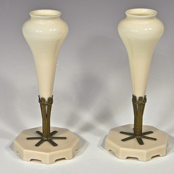 Pair of Pale Pink Opaque Glass MANTEL FLOWER VASES - Art Glass