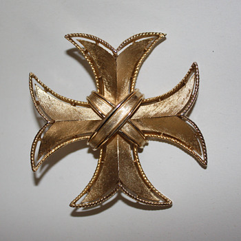 Crown Trifari Maltese Cross Pin - Costume Jewelry
