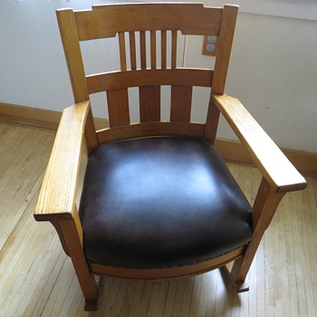 Oak Mission or Arts and Craft Chair Inherited/Seat redone - Arts and Crafts