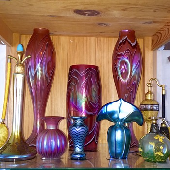 Harrach & Steuben Devilbiss Lunberg Iridescent Vases.  - Art Glass