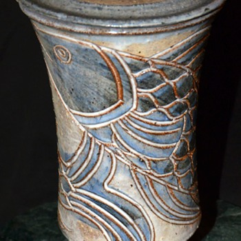 Lidded Vessel w/ Fishes - signed by Lynn Smiser Bowers from Dallas, TX - Art Pottery
