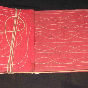 Vintage Old Ancient Indian Tying Thread Scriptures Type Blank Book with Dried Leaf