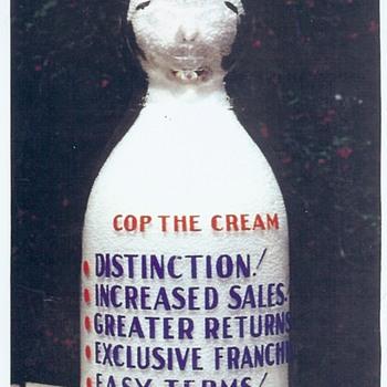 Salesman Sample Cop the Cream milk bottle