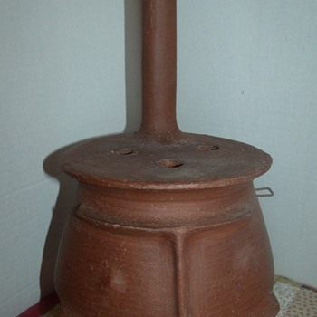 Red Clay Pot Belly Stove - Folk Art