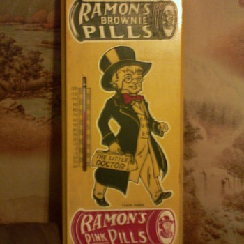 Ramons Brownie/Pink Pill's Ad/Thermometer - Advertising