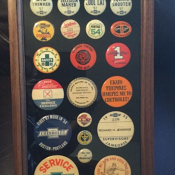 Collection of Automobile Pinback Buttons - Medals Pins and Badges