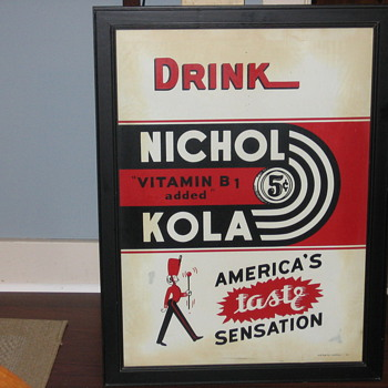 nichol kola tin sign  dated 6-41 - Advertising