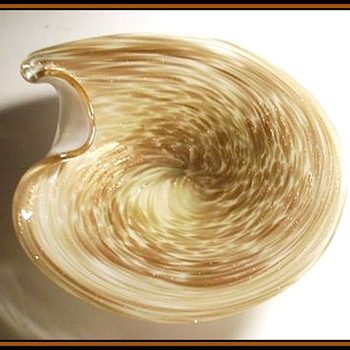 Murano Art Glass Bowl - Brownish with Aventurine Swirls