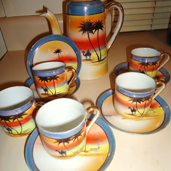 Japan tea set? Yes but camels? From thrift store. Yellow tagged 1/2 off $7.50
