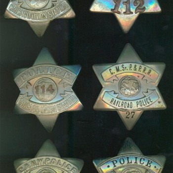 "A group of railroad police ""pie plate"" badges used in Chicago during the 1920's - Railroadiana"