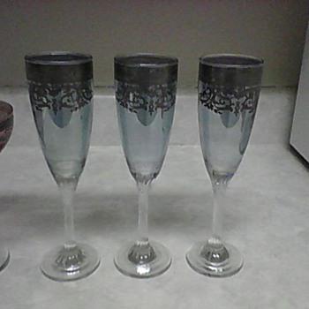 SILVER OVERLAY GLASSES  - Glassware