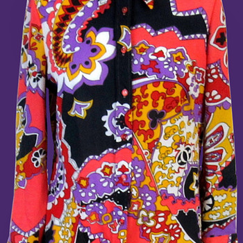 1960s TREVIRA2000 Psychedelic Woman's Shirt