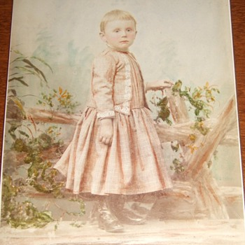 Boy in Dress Cabinet Card with expert artist tinting c. 1885