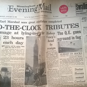 1965-Winston Churchill funeral -Birmingham evening mail. - Paper