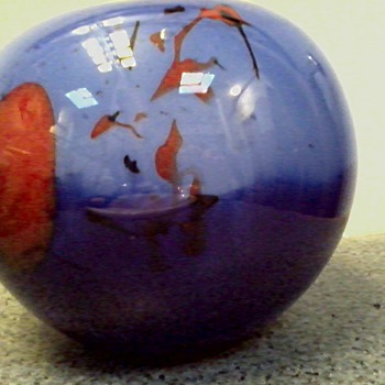 Interesting Blue and Orange Patterned Glass Sphere Bowl /Unknown Age and Maker - Art Glass