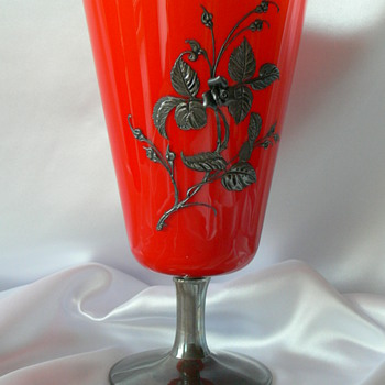 Bohemian Tango vase with silver composit enamel decoration (unsigned) - Art Glass