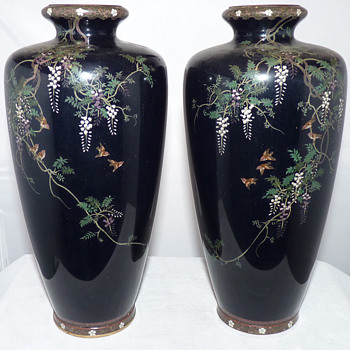 Pair of Japanese Meiji Period Cloisonne Vases by Hayashi Chuzo