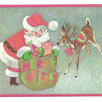 Santa Clause Poastcard ,Stickers, and One of my favorite Gretting Card. - Christmas
