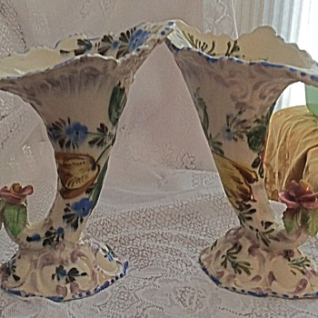 Antique Italian Vases or Sconces - Pottery