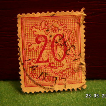 Vintage Belgique (Belgium) 20 Stamp ~ Used