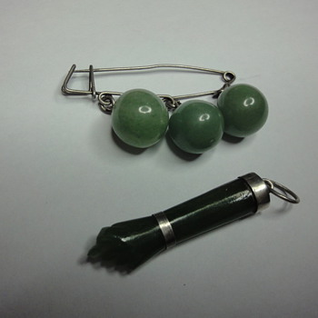 Silver Jade brooch and hand pendant