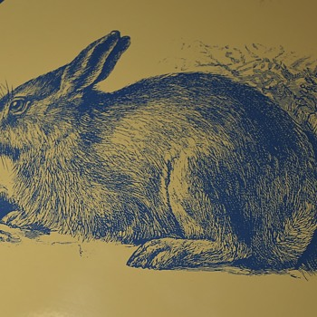 Large Porcelain Sign of a Blue Rabbit?? - Animals