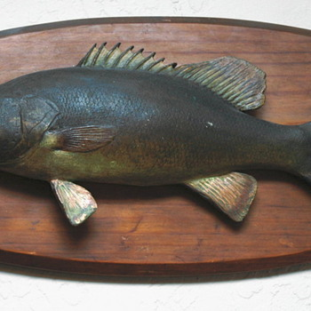 Small mouth Bass  plaque. Bass caught in 1926  - Fishing
