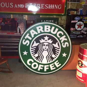 "Found In Dumpster...Starbucks Coffee Sign...Single Sided...48"" - Signs"