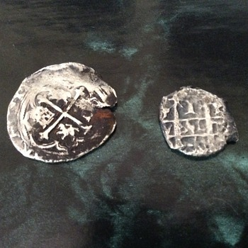 Silver coins or macacos from the Spanish era (1646's - 1700's)