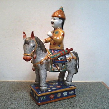 Chinese Porcelain Horse and Rider Figure / Unknown Maker and Age