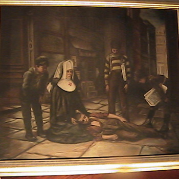 "P. E. Fairgeorge Oil on Canvas ""Street Urchins"" 1906 - Posters and Prints"