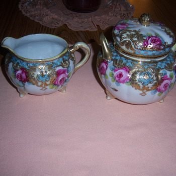 Nippon Sugar & Creamer set - blue maple leaf - China and Dinnerware