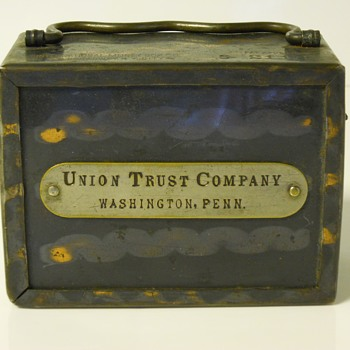 "Promotional Advertising Steel Bank""Union Trust Company""Washington Pennsylvania,""The International Money Box Co""Circa 1890-5   - Coin Operated"