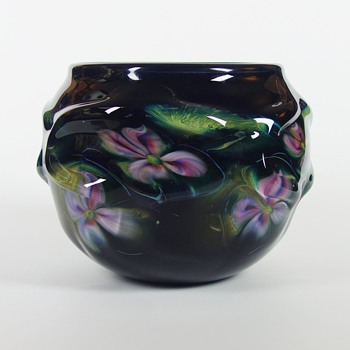 CHARLES LOTTON BLACK CAGED MULTIFLORA BOWL - Art Glass